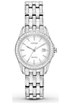 Citizen Women's Silhouette Crystal Analog Display Japanese Quartz Silver Watch