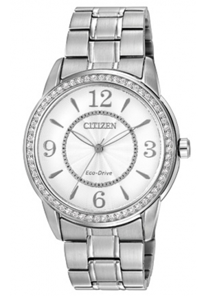 Eco-Drive Silhouette Crystal Silver Tone Stainless Steel Watch