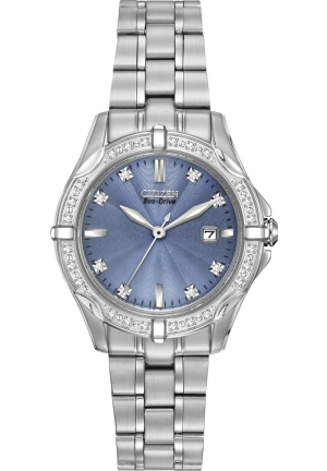 Citizen Women's Diamonds Analog Display Japanese Quartz Silver Watch