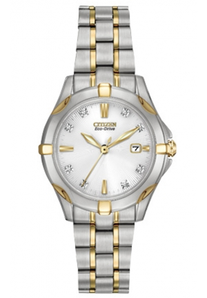 Citizen Women's Stainless Steel Two-Tone Watch with Diamonds