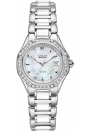 Women's Eco-Drive Signature Diamond (3/8 ct. t.w.) Ceramic Stainless Steel Bracelet 29mm
