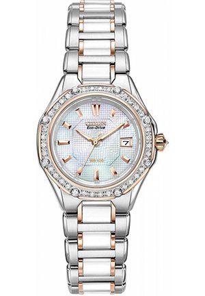 Women's Eco-Drive Diamond Ceramic Two Tone Stainless Steel Bracelet 29mm