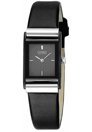 Women's Eco-Drive Black Leather Strap 25 x 23 mm