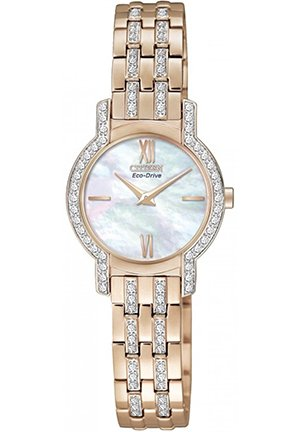 Women's Eco-Drive Crystal Accent Rose Gold-Tone Bracelet Watch 22mm
