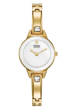 "Citizen Women's ""Silhouette"" Stainless Steel Swarovski Crystal-Accented Eco-Drive Watch"