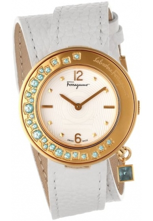 Salvatore Ferragamo  Women Watches : Quartz Gancino Sparkling White Dial Gold Coated Case With White Leather Strap