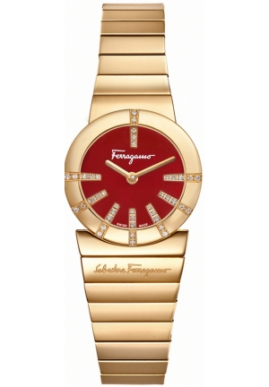 Salvatore Ferragamo Women's  Gancino Gold IP Red Enamel Diamond Watch