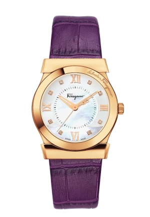 Ferragamo Women's Vega Rose Gold Purple Leather Watch 32mm