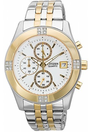 Women's Chronograph Quartz Two Tone Stainless Steel Bracelet 35mm