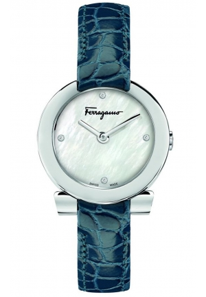 GANCINO STAINLESS BLUE LEATHER LADIES WATCH, 30MM