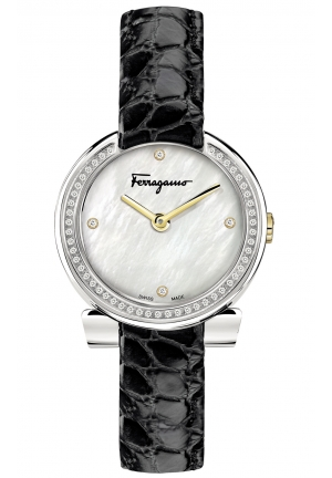 GANCINO STAINLESS BLACK LEATHER LADIES WATCH, 30MM