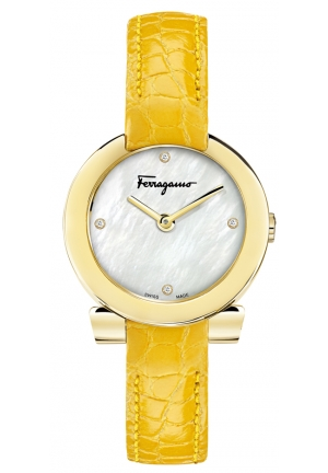 GANCINO STAINLESS YELLOW LEATHER LADIES WATCH, 30MM