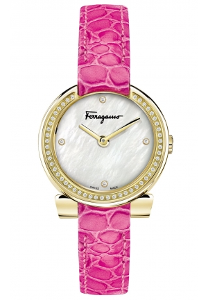 GANCINO STAINLESS PINK LEATHER LADIES WATCH, 30MM