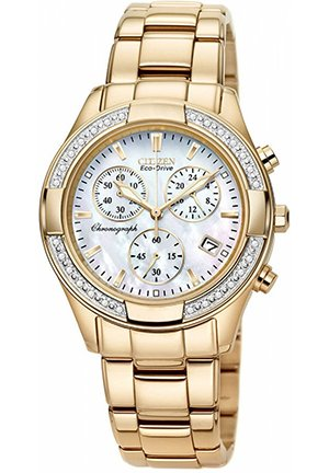 Women's Chronograph Eco-Drive Diamond Accent Rose Gold-Tone Stainless Steel Bracelet 30mm