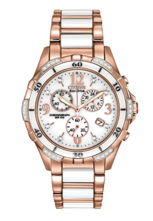 Citizen Women's Ceramic Analog Display Japanese Quartz Rose Gold Watch