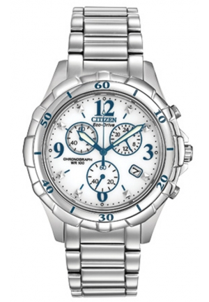 Citizen Women's Chronograph Analog Display Japanese Quartz Silver Watch