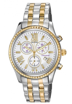 Citizen Women's Eco-Drive Two-tone Stainless Steel Quartz Watch with White Dial