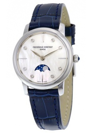 Slimline Moonphase Mother of Pearl Dial Diamond Blue Leather Ladies Watch