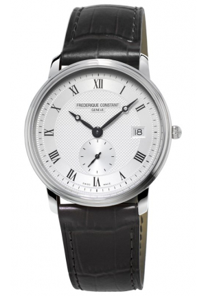 SLIMLINE SILVER DIAL BLACK LEATHER MENS WATCH 37MM