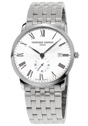 FREDERIQUE CONSTANT Slim Line White Dial Stainless Steel Men's Watch, 39 MM