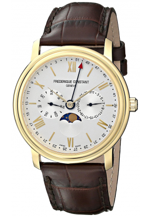 CLASSICS BUSINESS TIMER SILVER DIAL YELLOW GOLD-PLATED MENS WATCH 40MM