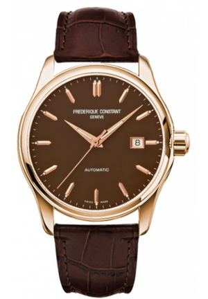 CLEAR VISION AUTOMATIC BROWN DIAL ROSE GOLD-TONE MEN'S WATCH 40MM