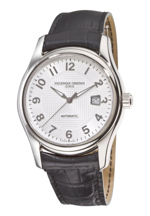 RUNABOUT AUTOMATIC SILVER DIAL BLACK STRAP WATCH 43MM