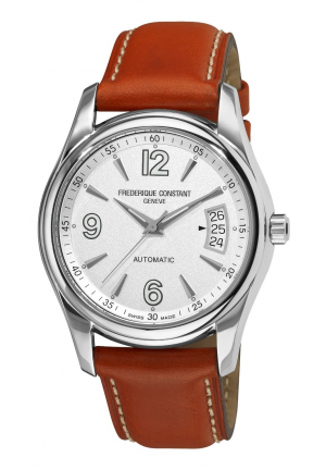 JUNIOR SILVER DIAL BROWN STRAP WATCH 38.5MM