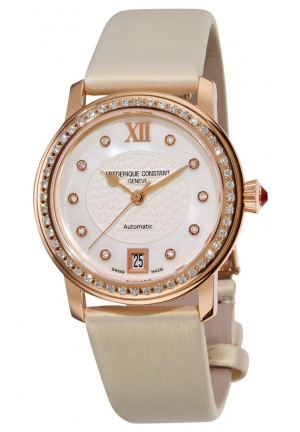 LADIES AUTOMATIC MOTHER-OF-PEARL DIAMOND DIAL WATCH 34MM
