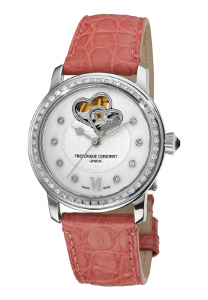 HEART BEAT AUTOMATIC MOTHER-OF-PEARL DIAMOND DIAL WATCH 34MM