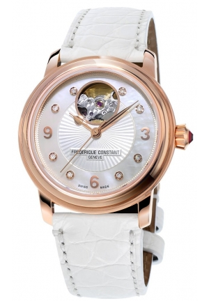HEART BEAT MOTHER OF PEARL DIAMOND DIAL LADIES WATCH , 34MM