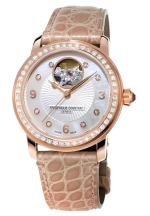 LOVE HEART BEAT ANALOG DISPLAY SWISS AUTOMATIC BEIGE LADIES WATCH 34MM