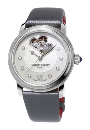 HEART BEAT WORLD HEART FEDERATION AUTOMATIC WHITE DIAL BLACK STRAP LADIES WATCH 34MM