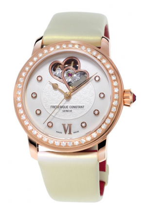 WORLD HEART MOTHER OF PEARL DIAL ROSE GOLD-PLATED LADIES WATCH 34MM