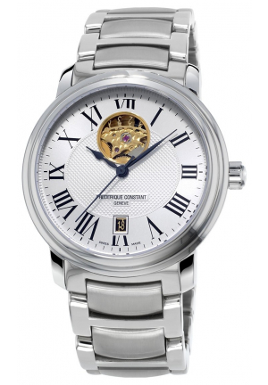 HEART BEAT SILVER GUILLOCHE STAINLESS STEEL MENS WATCH 30MM