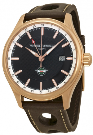 HEALEY GMT BROWN DIAL BROWN LEATHER MEN'S WATCH 42MM