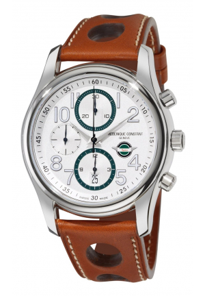 VINTAGE RALLY SILVER DIAL LEATHER MENS WATCH 43MM