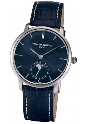 MANUFACTURE SLIMLINE MOONPHASE DIAL BLUE LEATHER MENS WATCH 42MM