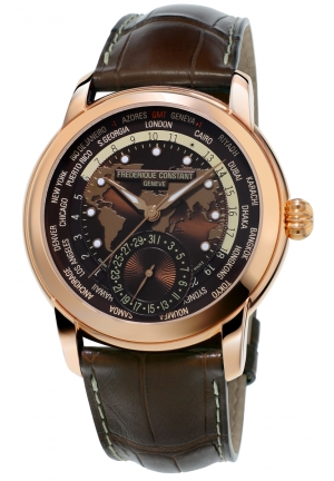 Frederique Constant Classic Manufacture Worldtimer Rose Gold Men Watch FC-718BRWM4H4