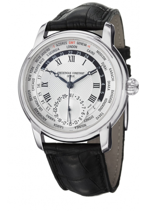 FREDERIQUE CONSTANT WORLDTIMER BLACK LEATHER STRAP WATCH 42MM
