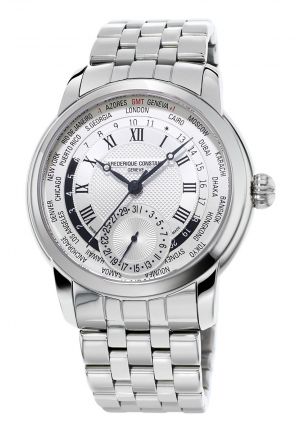 FREDERIQUE CONSTANT CLASSICS WORLDTIMER SILVER DIAL STAINLESS STEEL MENS WATCH 42MM FC-718MC4H6B