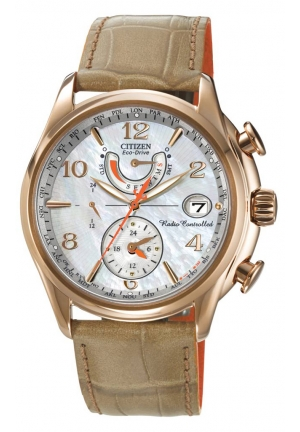 Citizen Women's World Time A-T Eco-Drive Camel Leather Strap Watch