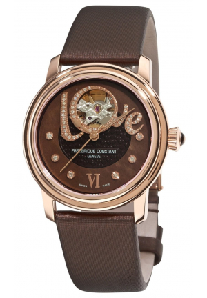 WOMEN'S LADIES AUTOMATIC BROWN OPEN DIAMOND DIAL WATCH 35MM