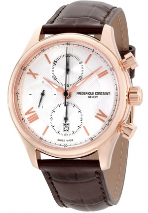 Frederique Constant Horological Smartwatch Silver Dial Leather Strap