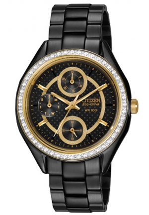 Citizen Eco-Drive POV Multi-Channel Black Dial Black-plated Ladies Watch