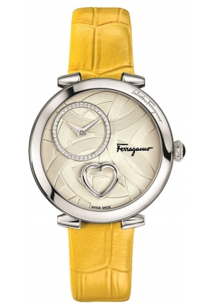 CUORE FERRAGAMO MOP DIAL STAINLESS STEEL YELLOW LEATHER WATCH 39MM
