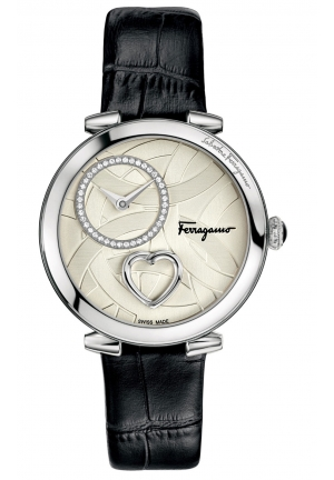 CUORE FERRAGAMO DIAMONDS STEEL BLACK LEATHER WATCH 39MM