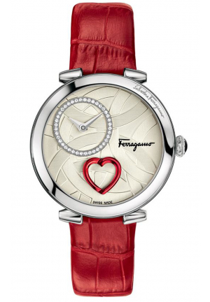 CUORE FERRAGAMO DIAMONDS STEEL PINK LEATHER WATCH 39MM