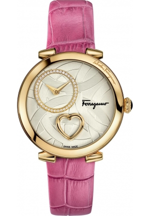 CUORE FERRAGAMO DIAMONDS PINK LEATHER WATCH, 39MM