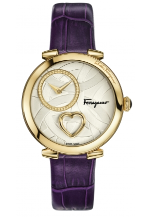 UORE FERRAGAMO GOLD IP STEEL PURPLE LEATHER, 39MM